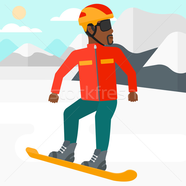 Young man snowboarding. Stock photo © RAStudio