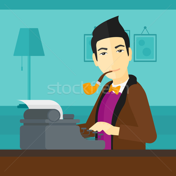 Reporter pracy maszyny do pisania asian piśmie palenia Zdjęcia stock © RAStudio