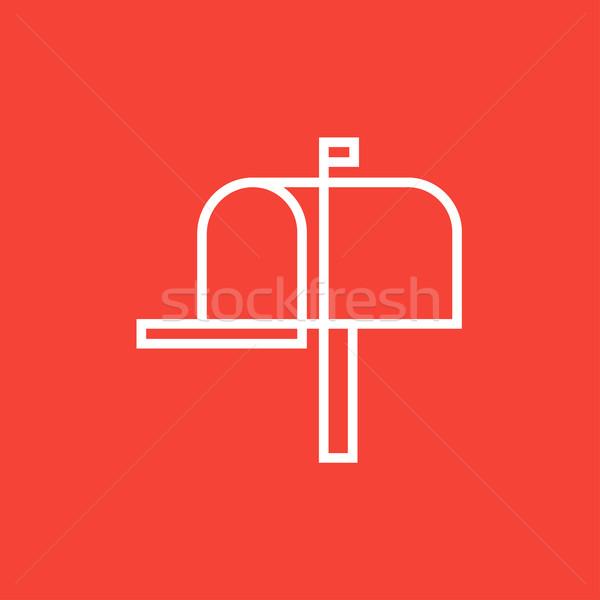 почтовый ящик линия икона уголки веб мобильных Сток-фото © RAStudio