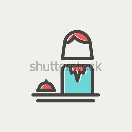Kobiet recepcjonista line ikona internetowych Zdjęcia stock © RAStudio