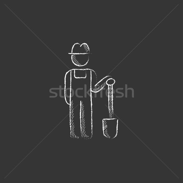 Agricultor pala tiza icono dibujado a mano Foto stock © RAStudio