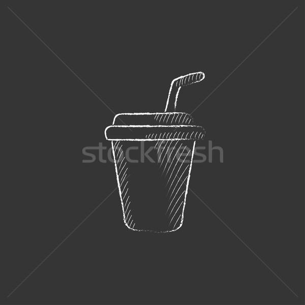Beschikbaar beker drinken stro krijt Stockfoto © RAStudio