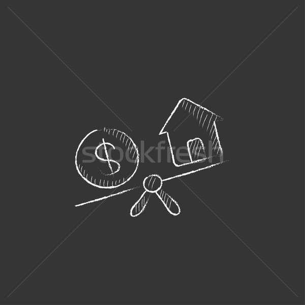 House and dollar symbol on scales. Drawn in chalk icon. Stock photo © RAStudio