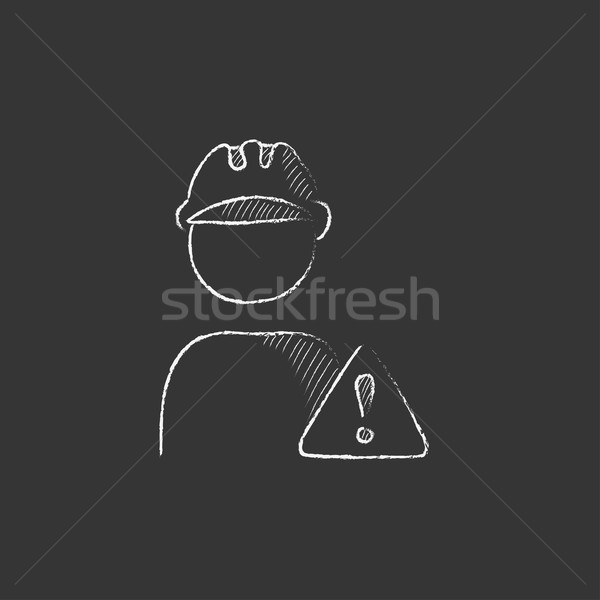 Worker with caution sign. Drawn in chalk icon. Stock photo © RAStudio
