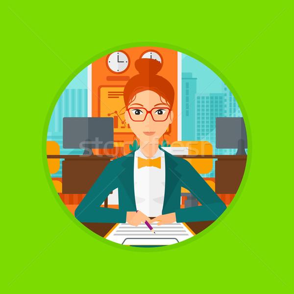 Ondertekening business contract zakenvrouw kantoor teken Stockfoto © RAStudio