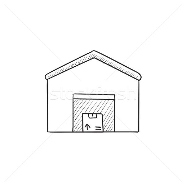 Raktár rajz ikon vektor izolált kézzel rajzolt Stock fotó © RAStudio