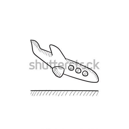 Aterrissagem aeronave esboço ícone vetor isolado Foto stock © RAStudio