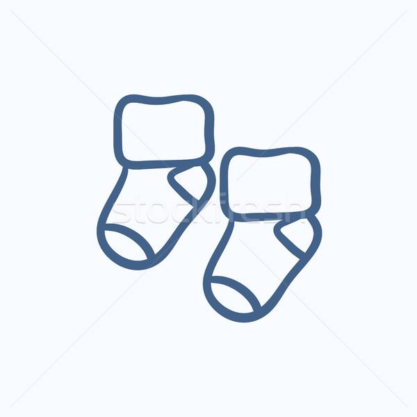 Baby calze sketch icona vettore isolato Foto d'archivio © RAStudio