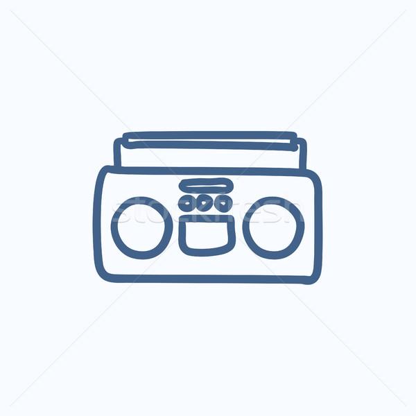 Stok fotoğraf: Radyo · kaset · oyuncu · kroki · ikon · vektör