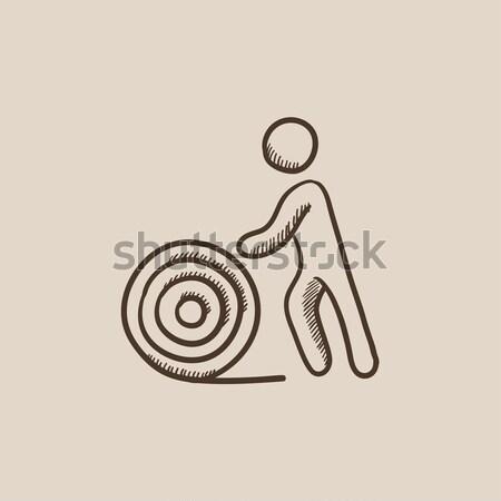 Homem arame carretel esboço ícone vetor Foto stock © RAStudio