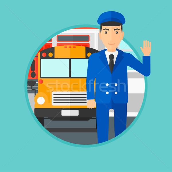 Bus scolaire pilote permanent jaune bus Photo stock © RAStudio