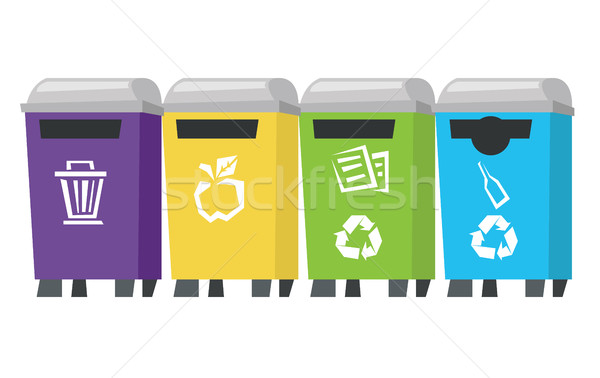 Four colored recycling bins vector illustration. Stock photo © RAStudio