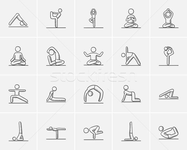 Yoga sketch icon set. Stock photo © RAStudio