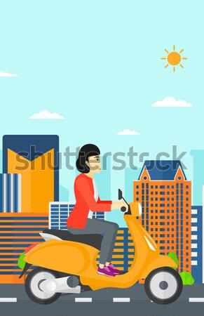Donna equitazione moto asian casco Foto d'archivio © RAStudio