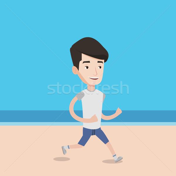 小さな スポーティー 男 ジョギング ビーチ 白人 ストックフォト © RAStudio