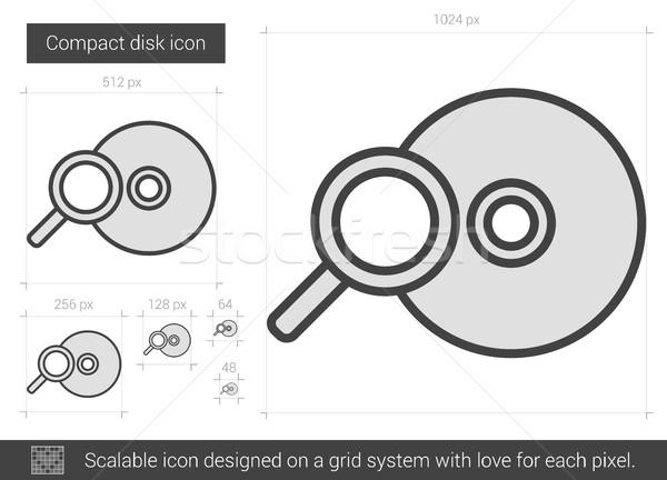 компактный диск линия икона вектора изолированный Сток-фото © RAStudio