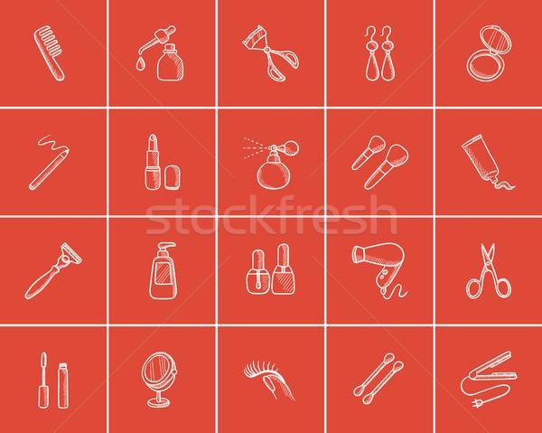 Szépség rajz ikon gyűjtemény háló mobil infografika Stock fotó © RAStudio
