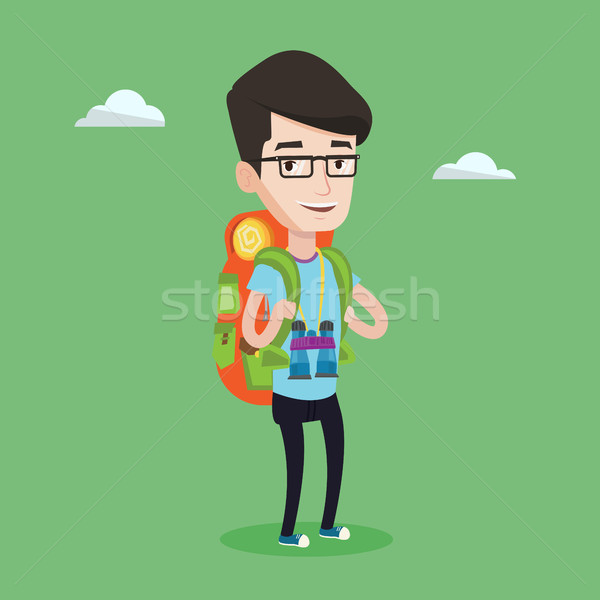 Cheerful traveler with backpack. Stock photo © RAStudio