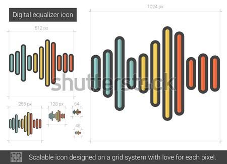 цифровой эквалайзер линия икона вектора изолированный Сток-фото © RAStudio