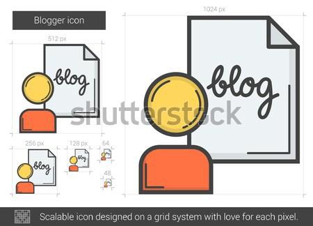 Blogger linha ícone vetor isolado branco Foto stock © RAStudio