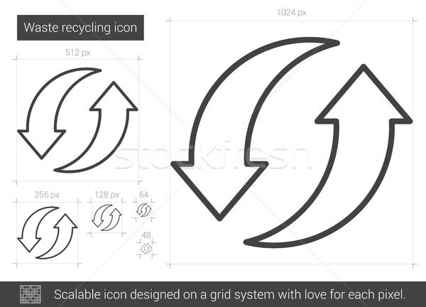 Atık geri dönüşüm hat ikon vektör yalıtılmış Stok fotoğraf © RAStudio