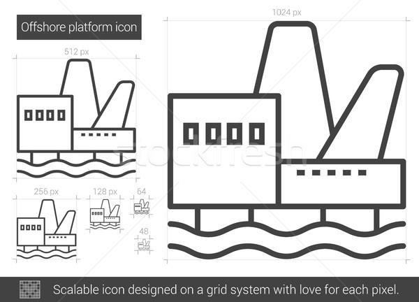 Offshore vágány vonal ikon vektor izolált Stock fotó © RAStudio