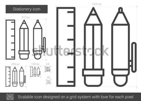 Artigos de papelaria linha ícone vetor isolado branco Foto stock © RAStudio
