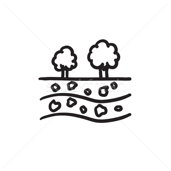 Cut of soil with different layers sketch icon. Stock photo © RAStudio