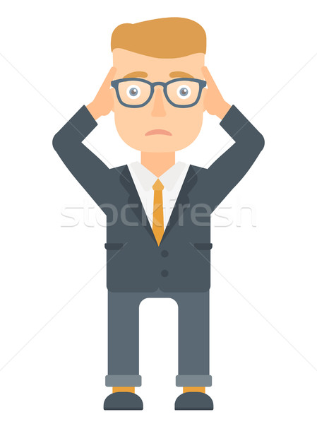 Bankrupt businessman clutching his head. Stock photo © RAStudio