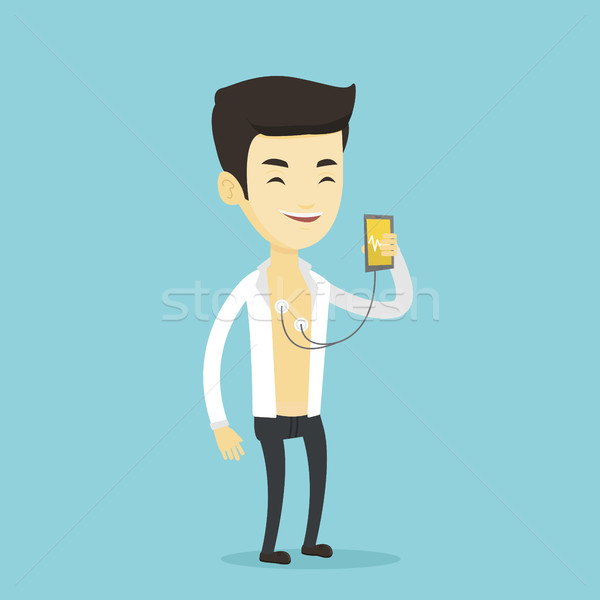Man measuring heart rate pulse with smartphone. Stock photo © RAStudio