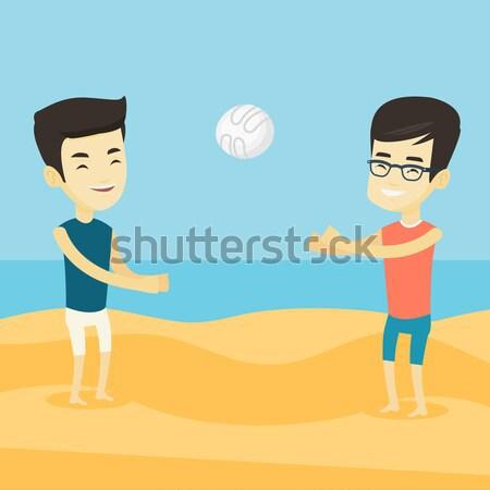 двое мужчин играет пляж волейбол два мужчин Сток-фото © RAStudio