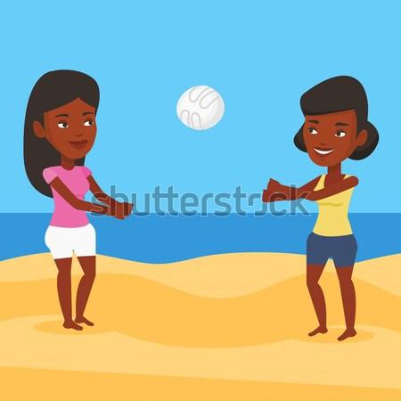 Duas mulheres jogar praia voleibol mulher amigo Foto stock © RAStudio