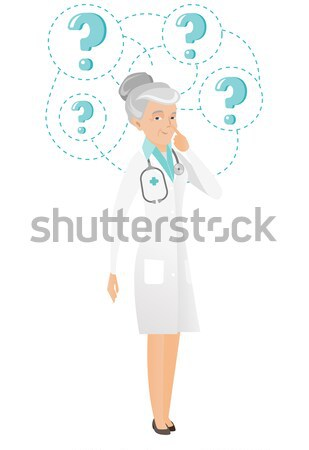 Thinking doctor with question marks. Stock photo © RAStudio