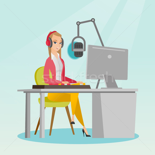 Female dj working on the radio vector illustration Stock photo © RAStudio