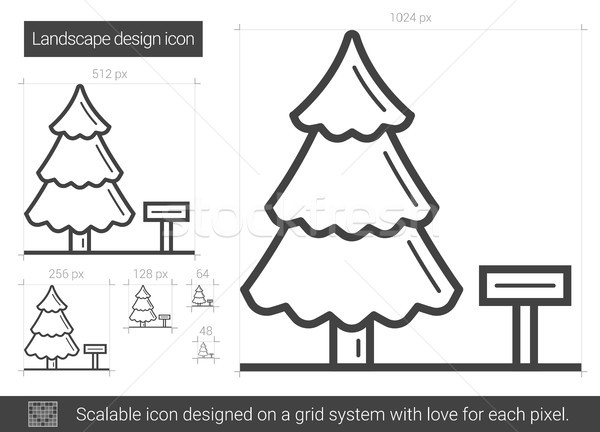 Landscape design line icon. Stock photo © RAStudio