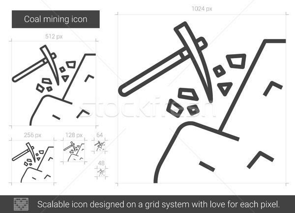 Carbone mining line icona vettore isolato Foto d'archivio © RAStudio