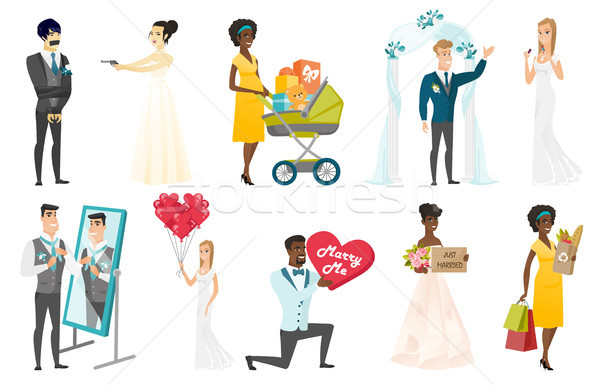 Stock photo: Bride and groom vector illustrations set.