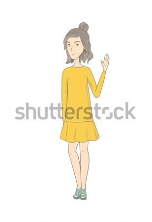 хиппи женщину указывая что-то стороны улыбаясь Сток-фото © RAStudio