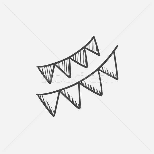 Christmas triangular flags sketch icon. Stock photo © RAStudio