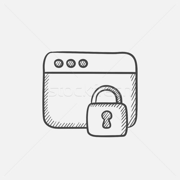Segurança navegador esboço ícone janela trancar Foto stock © RAStudio