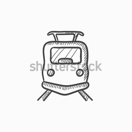 Front view of train sketch icon. Stock photo © RAStudio