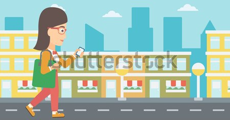 Business woman crossing finish line. Stock photo © RAStudio