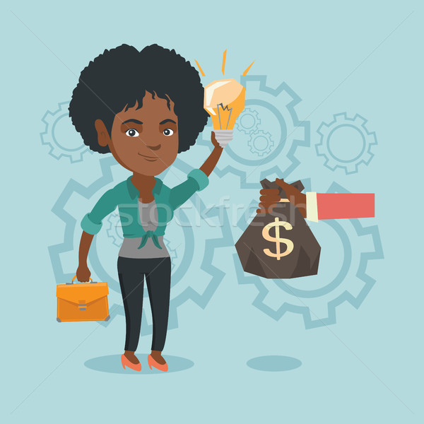 African businesswoman exchanging idea for money. Stock photo © RAStudio