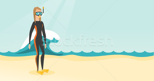 Young caucasian scuba diver in diving suit. Stock photo © RAStudio