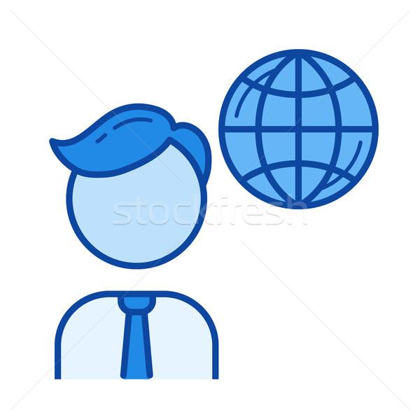 Globális üzlet vonal ikon vektor izolált fehér Stock fotó © RAStudio
