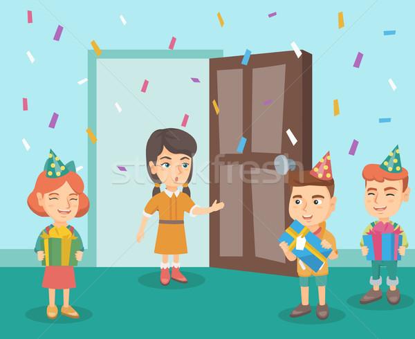 Gyerekek meglepetés születésnapi buli barát csoport kaukázusi Stock fotó © RAStudio