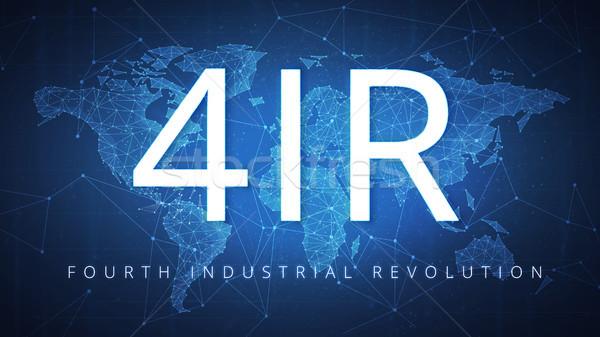 4IR Fourth industrial revolution on blockchain polygon world map. Stock photo © RAStudio