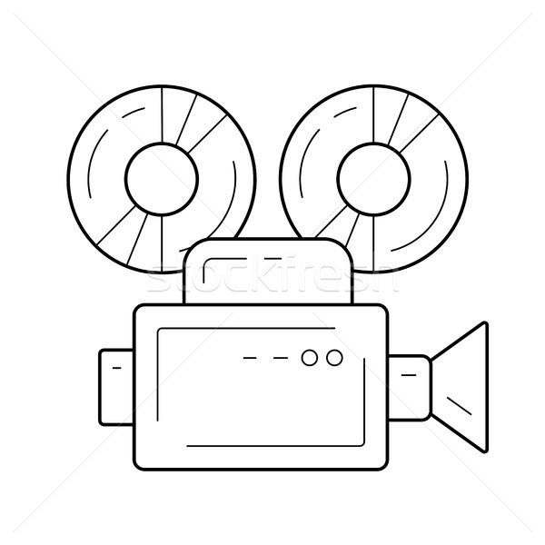 Filmadora linha ícone vetor isolado branco Foto stock © RAStudio