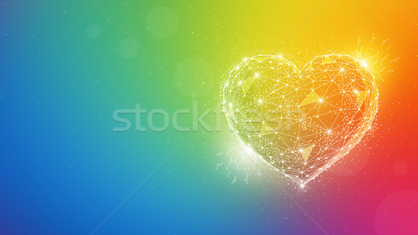 Polygon valentine heart on multicolor background. Stock photo © RAStudio