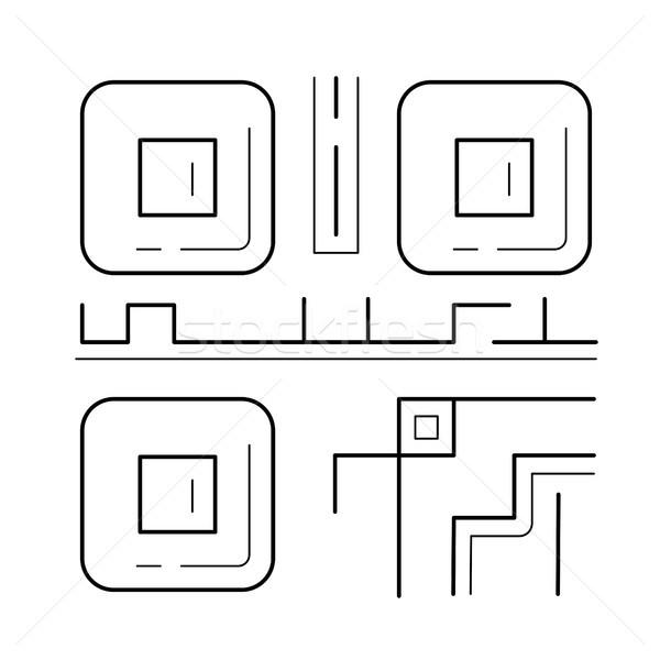 Qr code lijn icon vector geïsoleerd witte Stockfoto © RAStudio